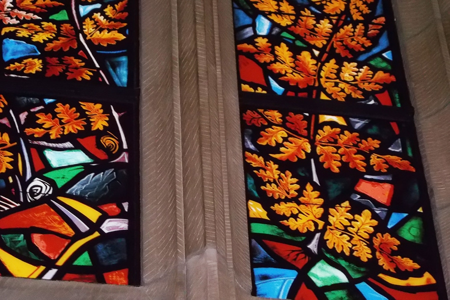 Close up of stain glass detail restoration house of commons chamber