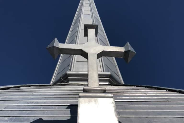 Close-up of St.Anne's Church roof in Tecumseth, Ontario