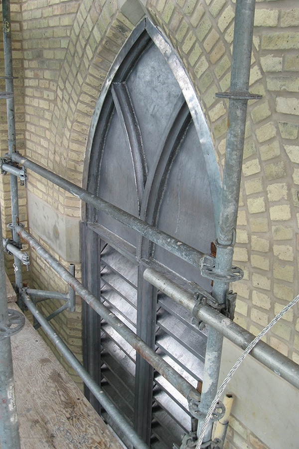 Our Lady of Mercy Church side view of window restoration project