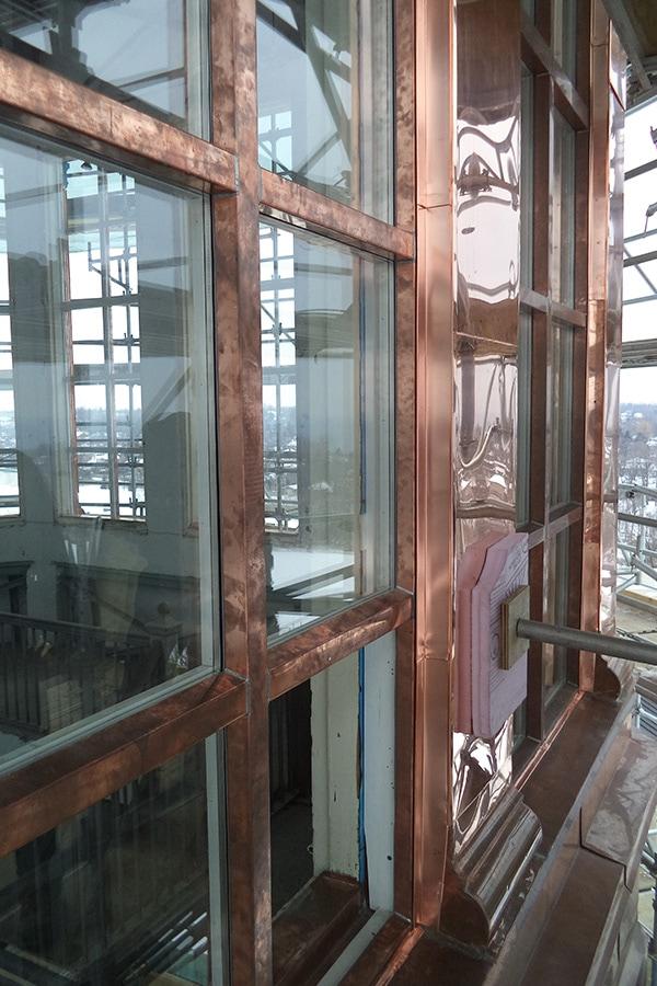 St Augistine's Seminary Restoration of Dome Windows Close up View of Work